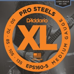 D'Addario EPS160-5 ProSteels 5-String Bass, Medium, 50-135, Long Scale