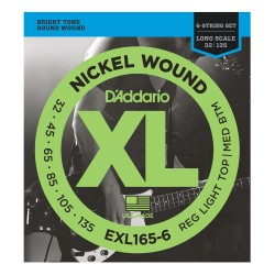 D'Addario EXL165-6 Nickel Wound 6-String Bass, Custom Light, 32-135, Long Scale