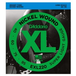 D'Addario EXL220 Nickel Wound Bass, Super Light, 40-95, Long Scale