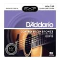D'Addario EXP13 Coated 80/20 Bronze, Custom Light, 11-52