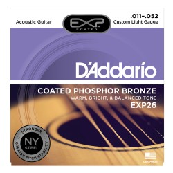 D'Addario EXP26 Coated Phosphor Bronze, Custom Light, 11-52