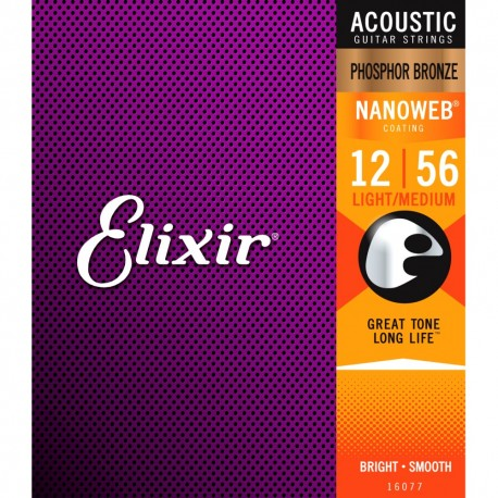 Elixir 16077 Light/Medium 12-56 Phosphor Bronze NANOWEB®